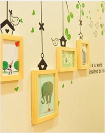 实木照片墙 创意绿色小鸟墙贴
