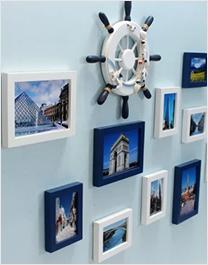 地中海客厅实木照片墙现代简约
